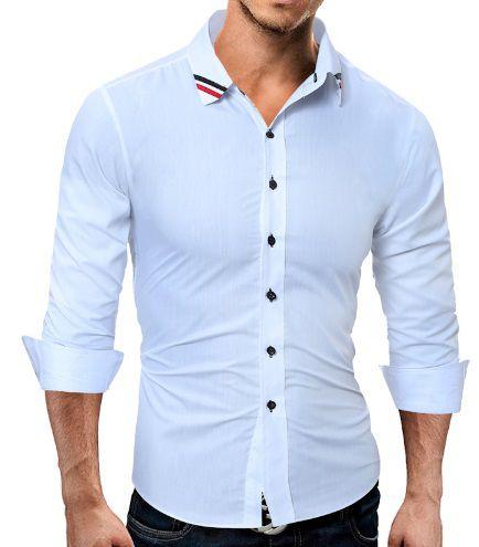 Camisa Social Slim Fit Estilo Grã-bretanha