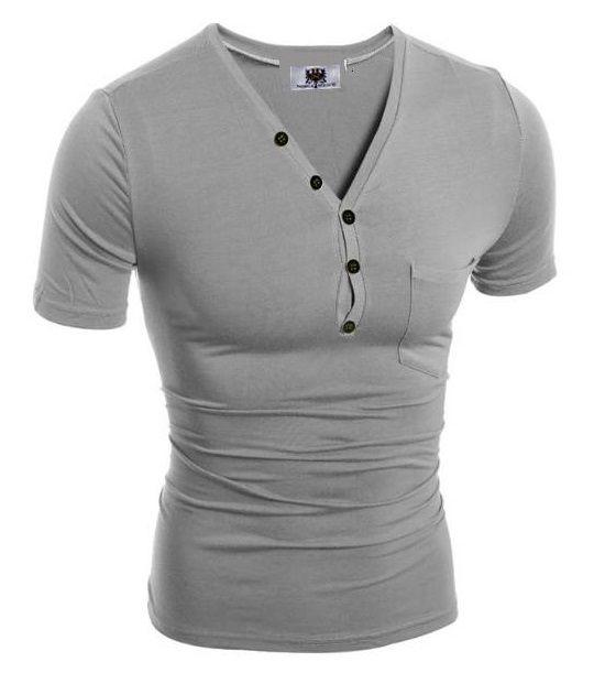 Camiseta Slim Fit Gola V Estilo Frances