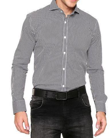 Camisa Micro Vichy Noblemen's Preto/Branco