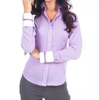 Camisa Manga Longa Feminina Lilás Detalhes em Branco