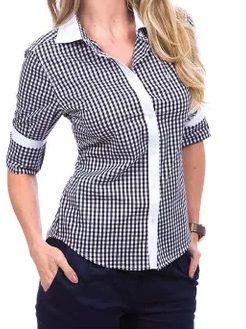 Camisa Feminina Xadrez Preto Detalhes em Branco