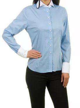 Camisa Feminina Manga longa Azul Claro Detalhes em Branco