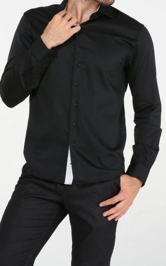 Camisa Social Slim Preto Detalhes Branco Noblemen's