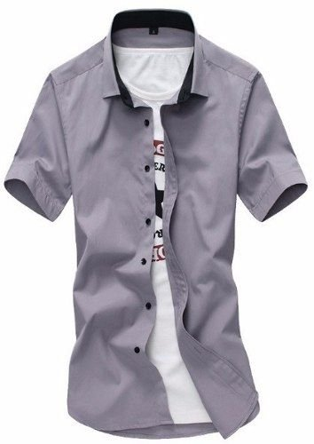 Camisa Social slim fit manga curta estilo Catalão