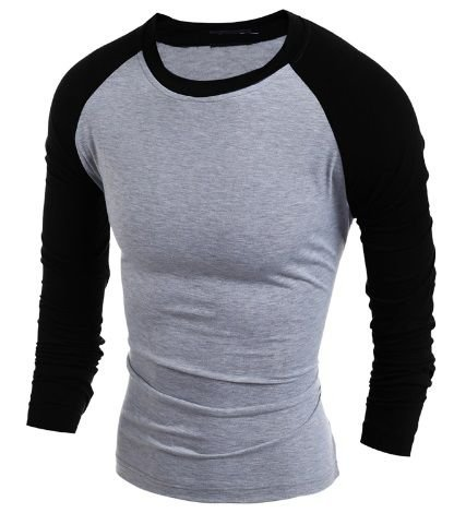 Camiseta Raglan Masculina Manga Longa Estilo Europeu