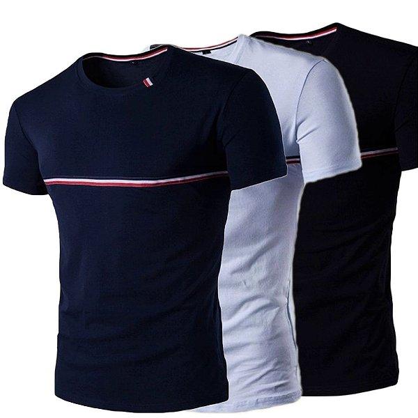Kit 3 Camiseta Slim Manga Curta Estilo França