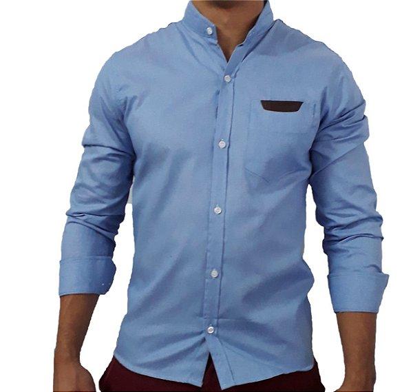 Camisa Social Sarja Masculina Gola Padre