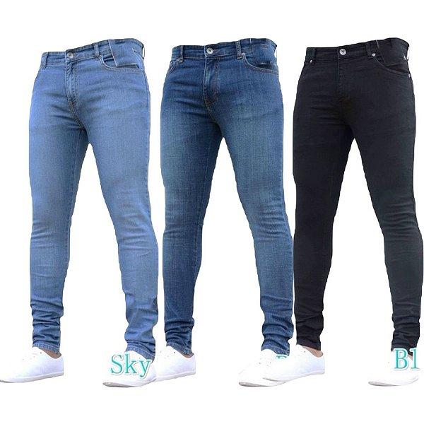 Kit 3 Calças Jeans Masculina Slim Original Noblemen's
