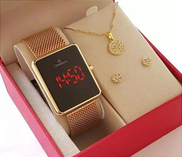 Relógio Champion Feminino Dourado Luxo + Colar E Brincos 18k