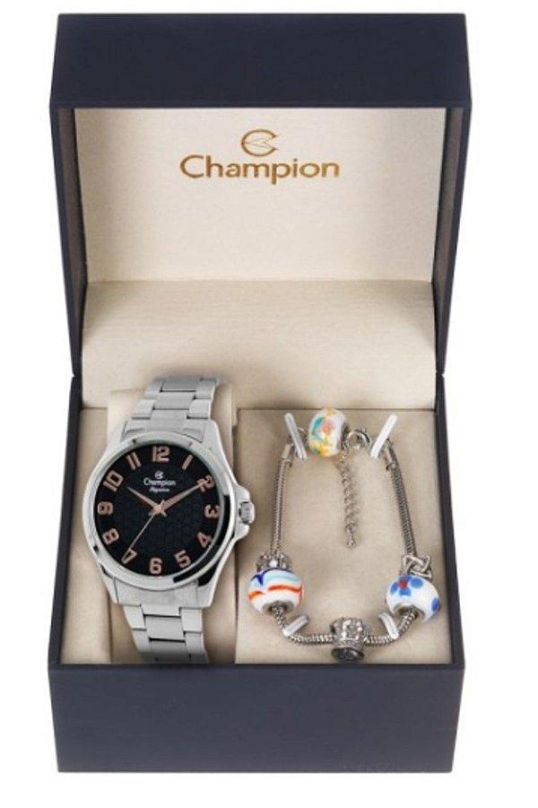 Relógio Feminino Champion Prata Com Semi Jóia