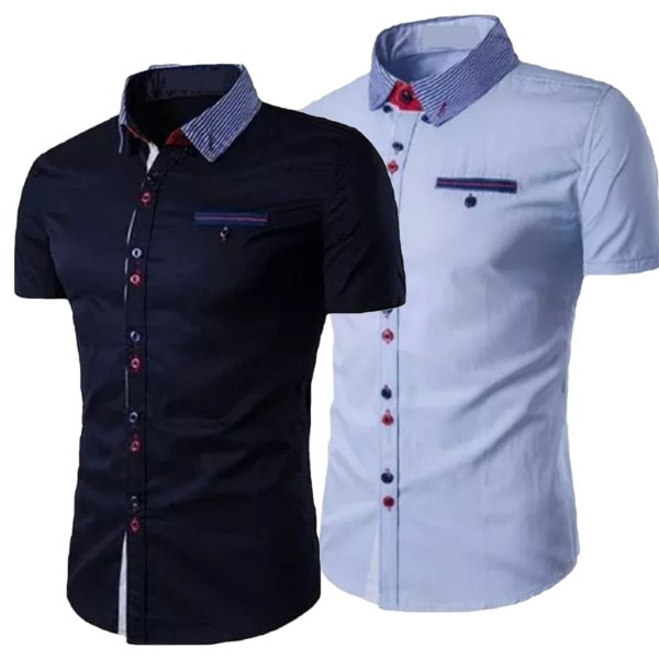 Kit 2 Camisas Manga Curta Masculina Estilo Inglaterra
