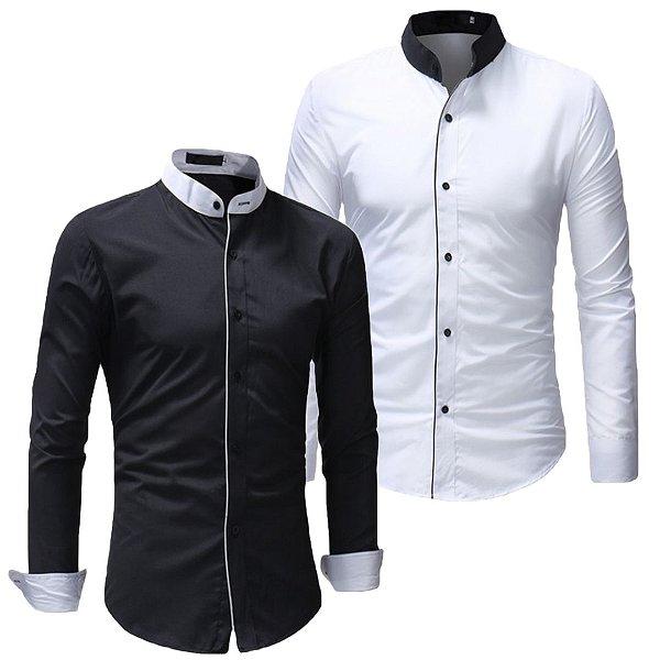 Kit 2 Camisas Social Slim Masculina Gola Mandarim