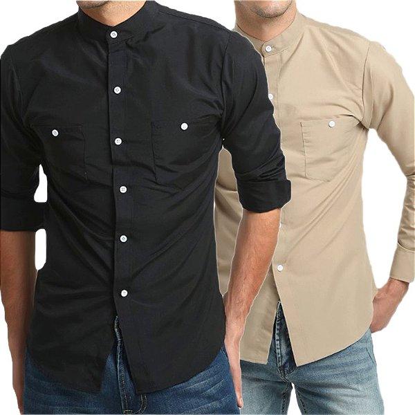 Kit 2 Camisas Social Slim Masculina Estilo Mandarim
