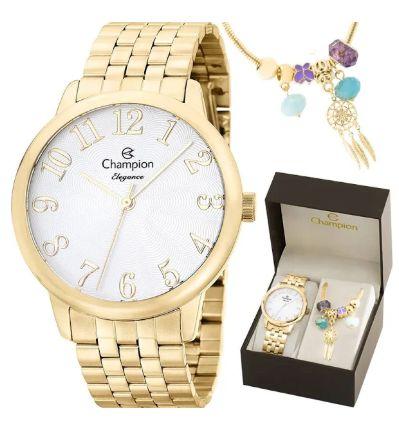 Relógio Champions Analógico Dourado CN26162S Original