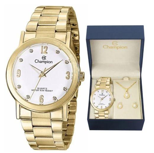 Relógio Champions Analógico Dourado CN29025W Original