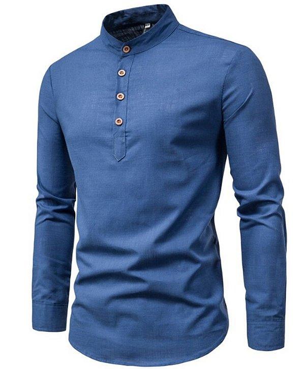 Camisa de Linho Manga Longa Estilo Noruega