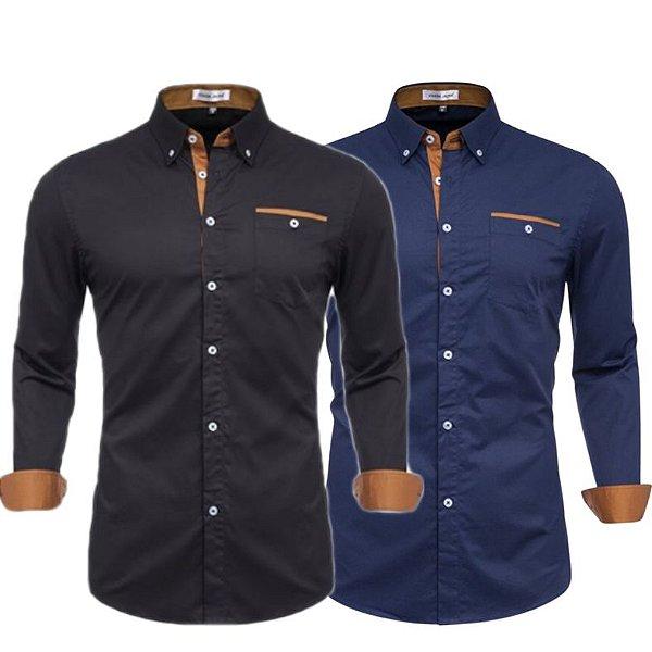 Kit 2 Camisa Slim Masculina Estilo Dinamarca