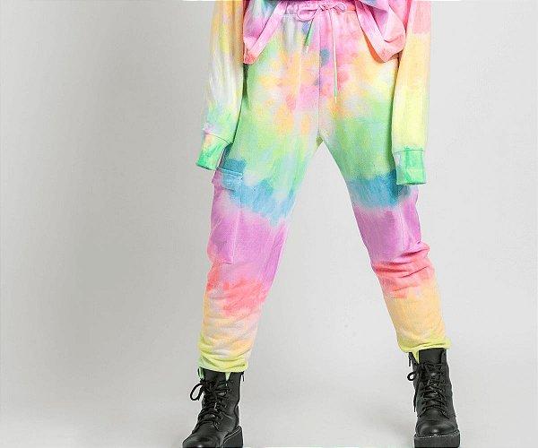 Calça com Bolsos Comfy Tie Dye Neon