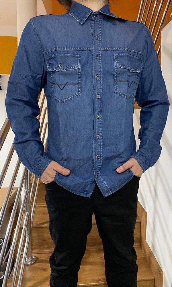 946dfaa939a41 Camisa masculina jeans - Ricca Glamour - Glamurosa