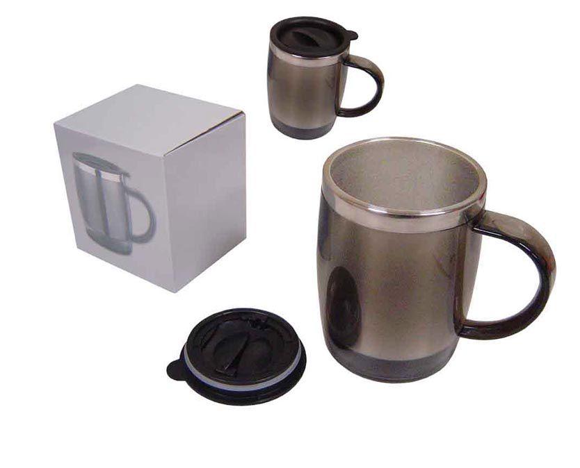 Caneca termica em abs e aluminio interno com tampa e alça na cor cinza e tampa preta