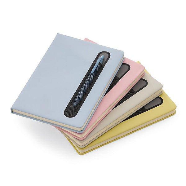 Caderno de anotações com suporte para caneta, capa dura em material sintético,
