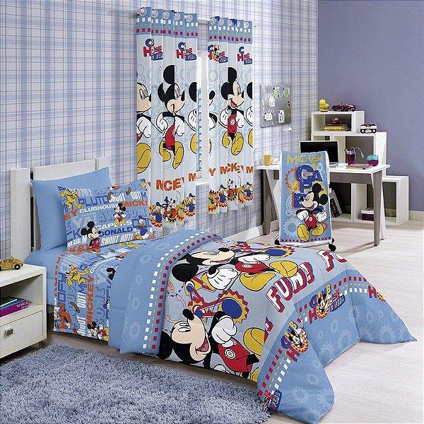 e282ec9ebd Jogo de cama solteiro infantil santista Disney Mickey Azul - Jungles ...