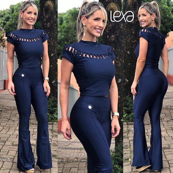 342f7e2b7 Calça Flare azul marinho Cirré - Mila Lexa Moda Fitness