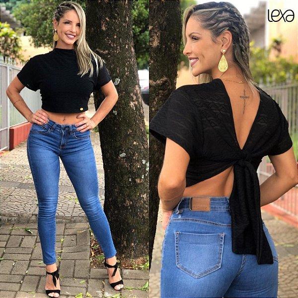 Cropped Blusinha Preta Renda em Tule