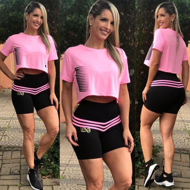 Shorts Preto listras Rosa