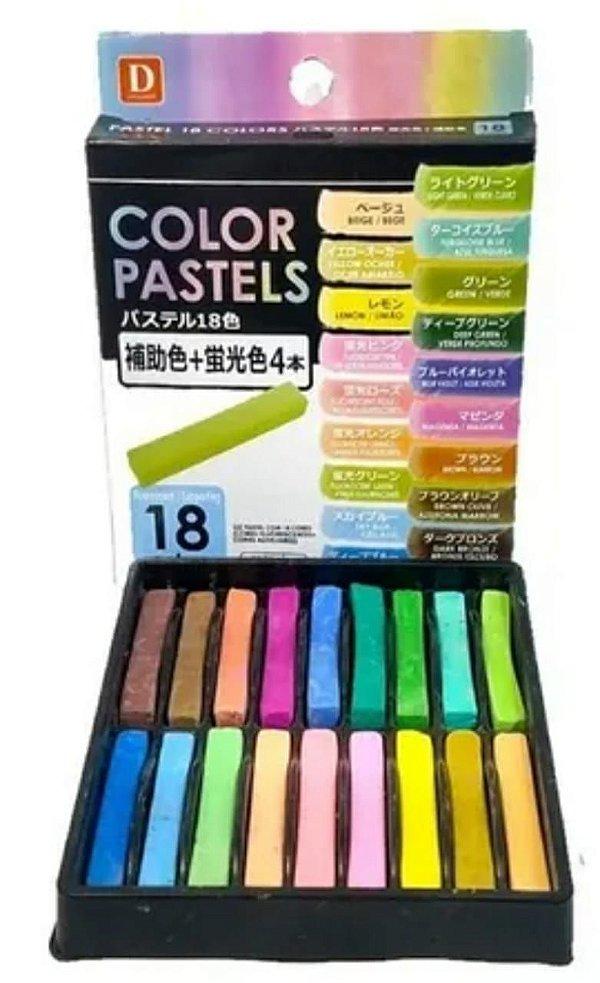 Giz Pastel Seco 18 cores Fluorescentes