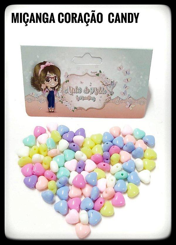 Miçanga Coração Cores Candy 8mm