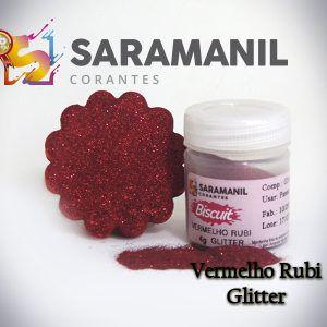 Corante pó Glitter Vermelho Ruby