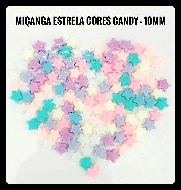 Miçanga Estrela Cores Candy - 10 mm