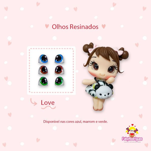Olhos Resinados Love - F04 - Faby Rodrigues - Mista