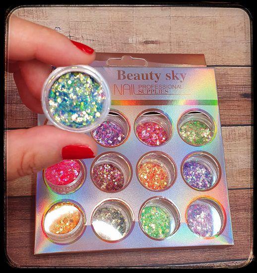 Kit Glitter 12 cores - Beauty Sky