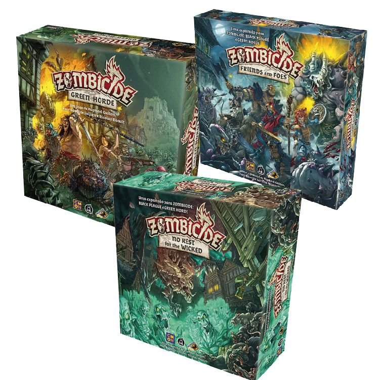 Zombicide: Green Horde + Friends and Foes + No Rest for the Wicked + Sleeve