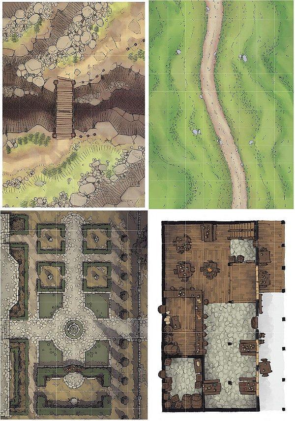 Playmat Grid RPG Kit com 4
