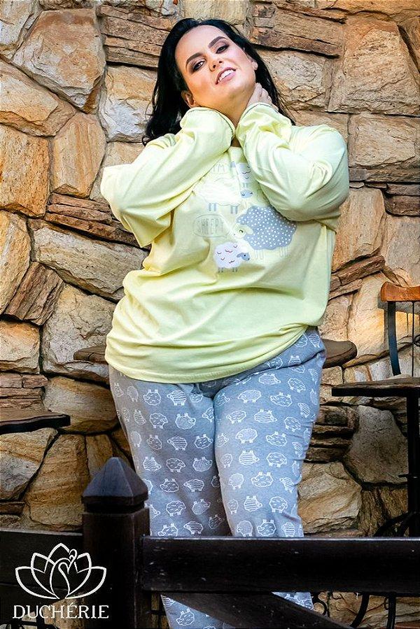 Pijama Plus Size Estampa Ovelhas