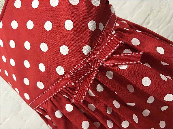 Vestido Petit Poá Vermelho e Branco com Faixa