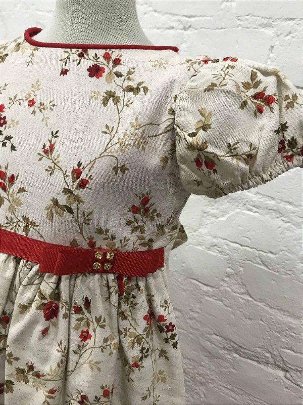 Vestido Floral com detalhes em Vermelho