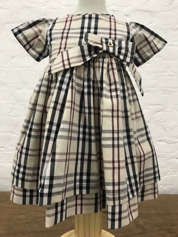 Vestido Burberry Inspired com Manga e Tapa Fraldas 26756