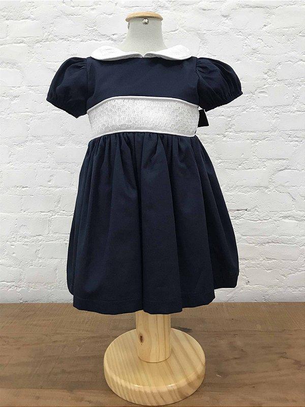 Vestido Casinha de Abelha Manga Princesa Azul Marinho