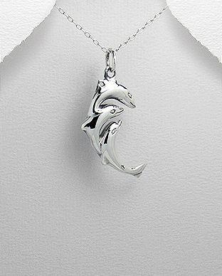 pingente de prata tres golfinhos