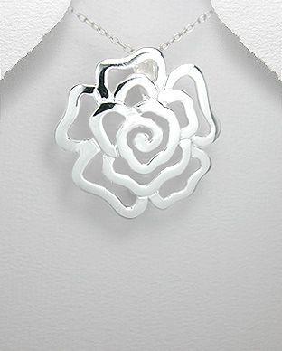 pingente de prata flor