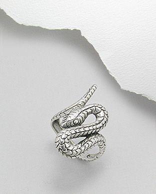 anel de prata escurecida serpente
