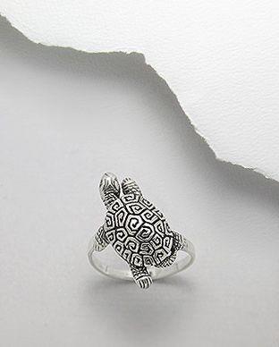 anel de prata tartartuga