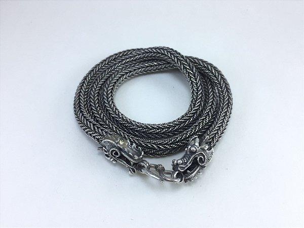 corrente de prata bali masculina fecho dragão