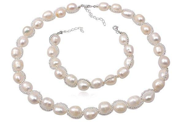 conjunto colar e pulseira de prata e pérolas