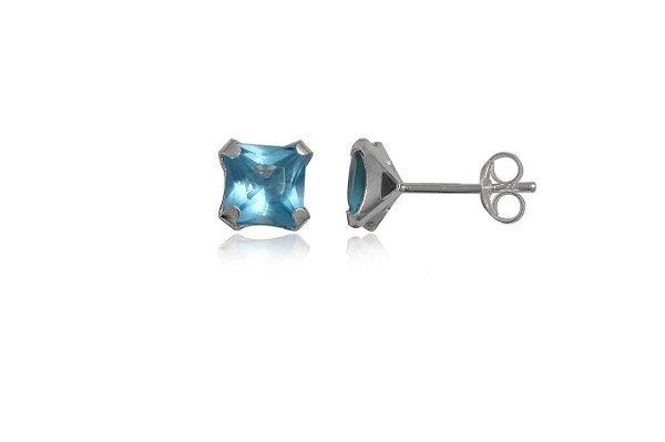 brinco de prata segundo furo zirconia quadrada