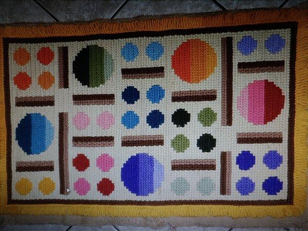 Juta riscada de tapete geométrico #3